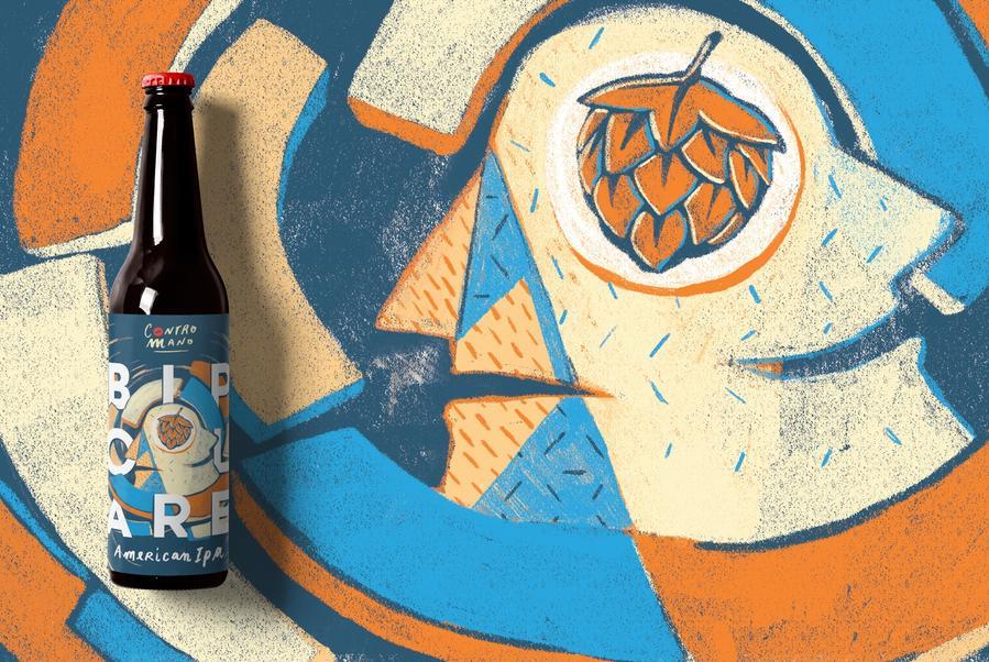 Contromano精酿啤酒品牌的包装设计-手绘加拼贴 让顾客感到更加亲切